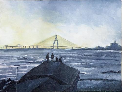 sea,sea shore, bridge, people,Seashore Painting,ART_2809_20121,Artist : Nalini Tondwalkar,Acrylic