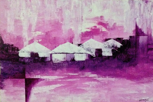 abstract art,Village,ART_1533_20262,Artist : Dimple Kapoor,Acrylic