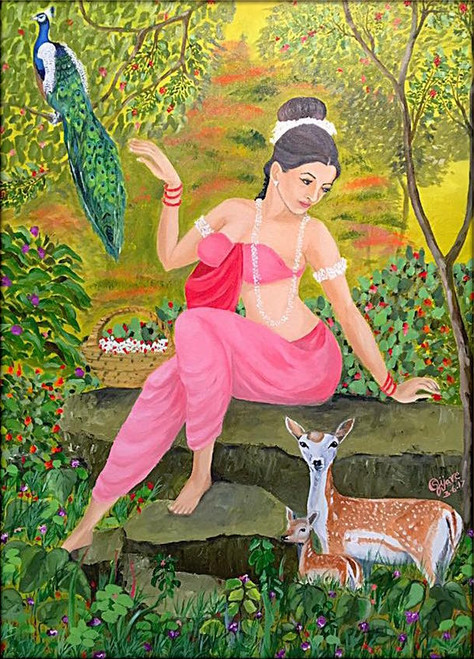Woman, Shakuntala, Beautiful lady.,Shakuntala,ART_168_20241,Artist : Subhash Gijare,Oil