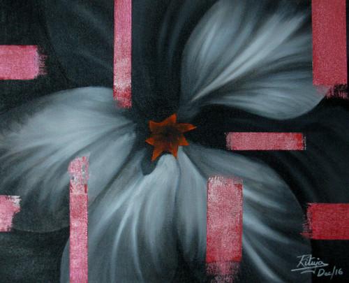 ,Black and White Flower with Pink Stripes ,ART_1268_20291,Artist : Rituja  Gayen,Acrylic