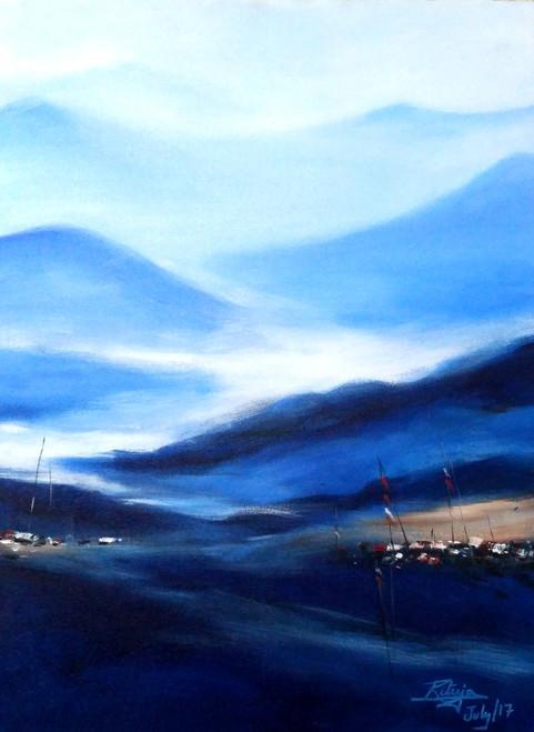 Mountains,Blue Mountain,ART_1268_20299,Artist : Rituja  Gayen,Acrylic