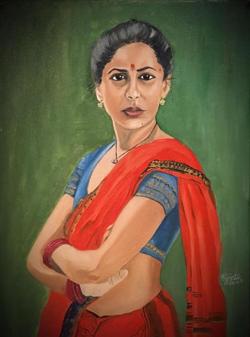 Smita Patil, Indian Woman,Strong Woman,Smita Patil,ART_168_20332,Artist : Subhash Gijare,Oil