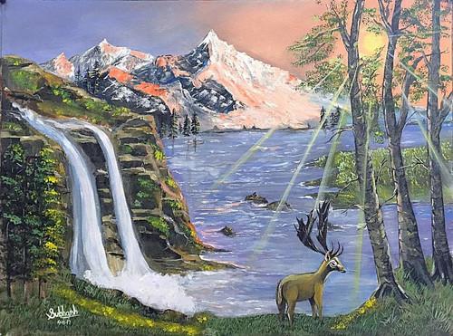 Sunshine, Landscape, Scenery, Waterfall, Mountains, ,SunShine,ART_168_20330,Artist : Subhash Gijare,Acrylic