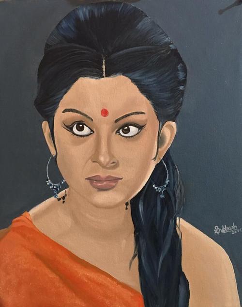 Sharmila Tagore,Sharmila Tagore,ART_168_20329,Artist : Subhash Gijare,Oil