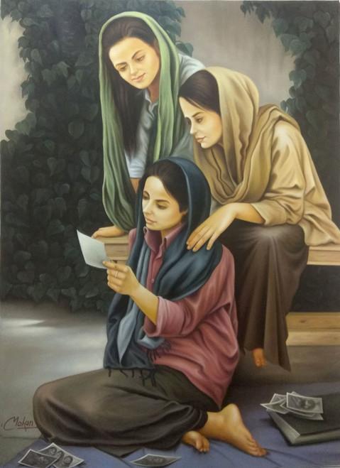rajasthani, lady, beautiful,3 Ladies holding theirs photo,ART_1090_20321,Artist : Mohan Mahavar,Oil