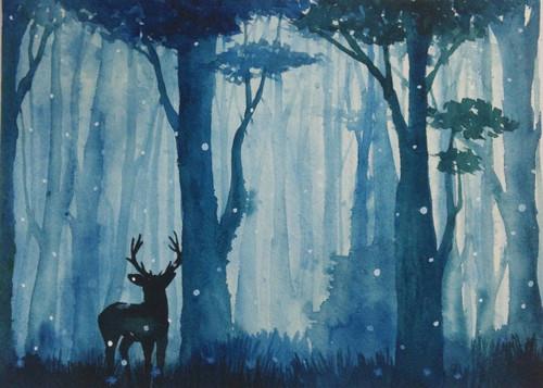 forest,dark tree,fog,dear,night,moonlight,,Dark view in forest,ART_2809_20403,Artist : Nalini Tondwalkar,Water Colors