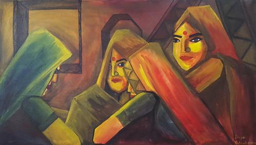 Indian ladies,Indian ladies,ART_2333_20371,Artist : Divya Vishvakarma,Acrylic