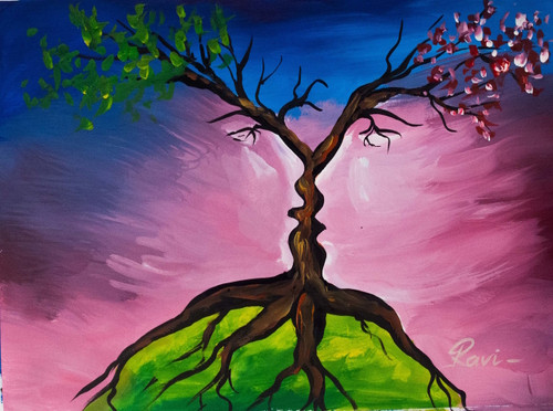 Tree , Two Faces , Acrylic , Trees , Branches , Leaves , Abstract ,Nature in Illusion,ART_2934_20506,Artist : Ravi Viswanathan,Acrylic