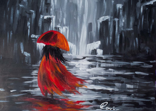 Girl , Femine , Modernization , Rainy Day , Buildings , Apartments , Water , Nature , RED,Women In a World Of Modernization,ART_2934_20504,Artist : Ravi Viswanathan,Acrylic