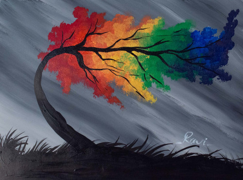 Rainbow , Tree , Colorful , Landscape , Lawn , Leaves , Rainy day , Rain Forest,Lonely Tree in a Rainy Forest,ART_2934_20502,Artist : Ravi Viswanathan,Acrylic