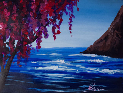 Tree , Acrylic , Mountains , Blossom , Seascape , Landscape , Colorful , Waves , Sky ,Cherry Blossom in an Island,ART_2934_20501,Artist : Ravi Viswanathan,Acrylic