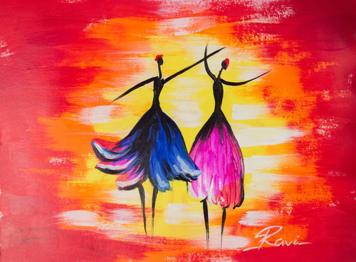 FEMINE , abstract , Colorful ,  BALLET , DANCE , ITALIAN ART , beautiful art , Nature , Liveliness ,Two Dancing Girls in a Festival,ART_2934_20490,Artist : Ravi Viswanathan,Acrylic