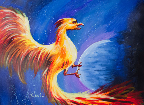 Dragon , Wildlife , Space , Motivational , Moon , Milkyway , Landscape , Nature,Flying Bird in the Space,ART_2934_20489,Artist : Ravi Viswanathan,Acrylic