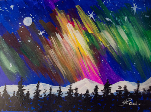 Mountains , Peace , Milkyway , Landscape , Colors , Silhouette , Stars  ,Aurora borealis In The North,ART_2934_20486,Artist : Ravi Viswanathan,Acrylic