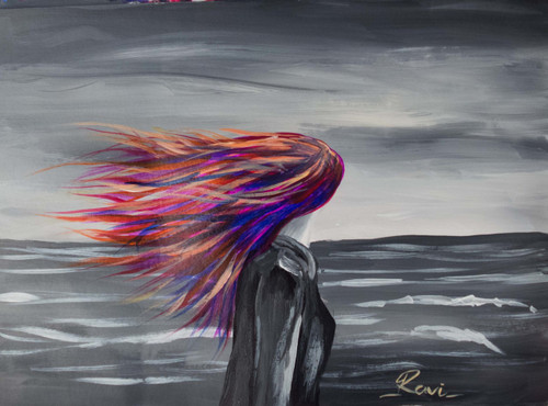 Femine , Girl , Walking Alone , Motivation , Seascape , Colorful , Landscape , Sea , Clouds,Girl In A Magic World,ART_2934_20485,Artist : Ravi Viswanathan,Acrylic