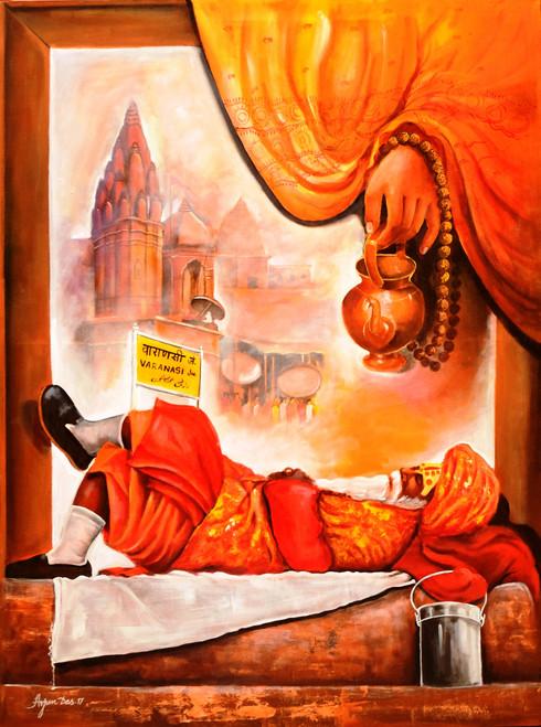 #worship#banarash#varanasi#tample#sadhu,worship in Banarash ghat,ART_82_20462,Artist : Arjun Das,Acrylic