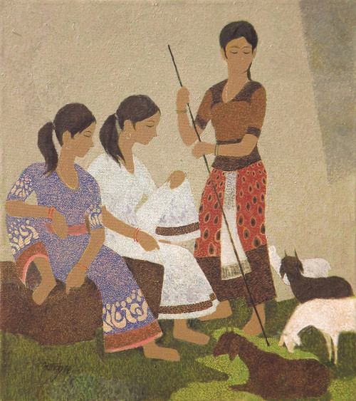 Figurative, Oil Painting,Three Beauties 'n' Goats,ART_2969_20466,Artist : Ashok Dharmadhikari,Oil