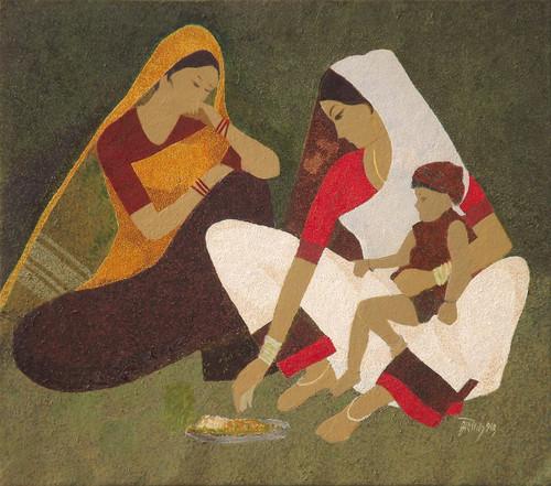 Figurative, Oil Painting,Feeding,ART_2969_20464,Artist : Ashok Dharmadhikari,Oil
