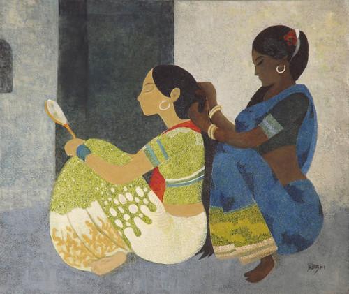 Figurative, oil painting,Adorn,ART_2969_20463,Artist : Ashok Dharmadhikari,Oil