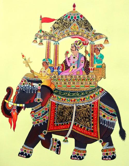 miniature, rajasthani,Rajasthani Miniature - Handpainted Art Painting - 15in X 20in,ART_2702_19462,Artist : ASHISH AMRITA VERMA,Acrylic