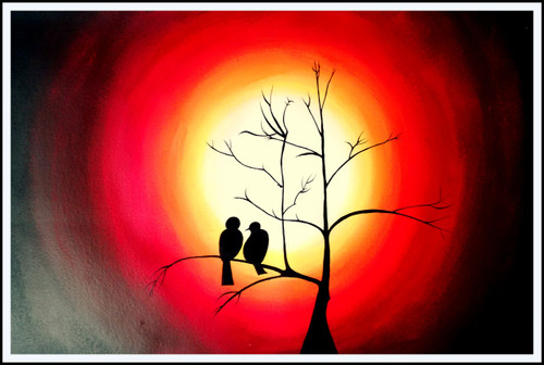 birds, sunset, sun, Silhouette,Beautiful Bird Silhouette,ART_2702_19458,Artist : ASHISH AMRITA VERMA,Acrylic