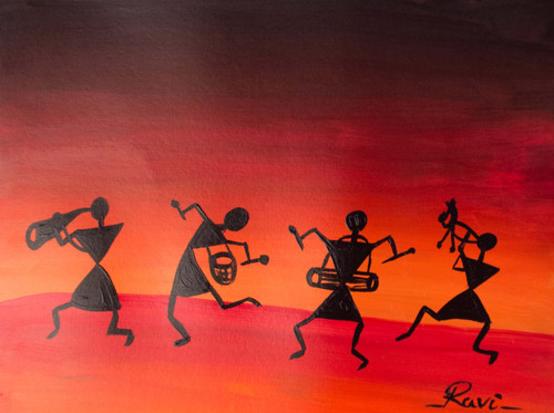 Warli , Warli tribe , Rainbow , Nature , Acrylic , Forest , Trees , Silhouette , Culture , Tradition , India,Warli In A Beauty,ART_2934_20556,Artist : Ravi Viswanathan,Acrylic