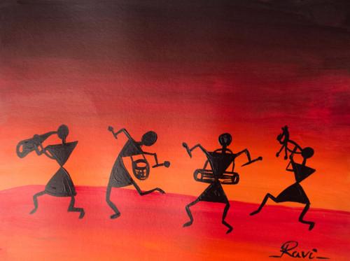 Warli , Warli tribe , Rainbow , Nature , Acrylic , Forest , Trees , Silhouette , Culture , Tradition , India,Warli In A Beauty,ART_2934_20556,Artist : Ravi Viswanathan,Acrylic