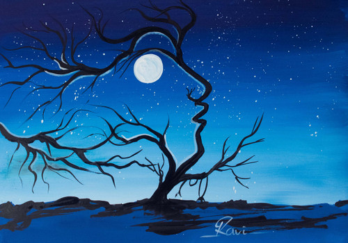 Trees , Silhouette , Moon , Abstract , Acrylic in Canvas , Fashion , Nature , Human , People ,Human Via Nature,ART_2934_20553,Artist : Ravi Viswanathan,Acrylic