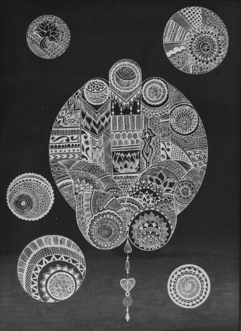 Black and white, Hamsa hand, Madhubani, Buddha,Hamsa Hand with Madhubani,ART_3009_20605,Artist : Shamli Hingorani,Ink