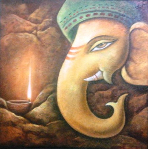 Diya Ganesh - 30in X 30in,ART_PIJN44_3030,Acrylic Colors,Ganesh,Bappa,Deep,Diya Artist Pallavi Jain,Museum Quality - 100% Handpainted Buy Paintings Online in India