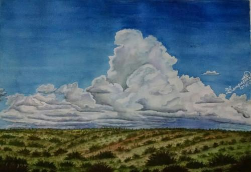 clouds, barren land,The Clouds,ART_2393_20640,Artist : Sampeeta Banerjee,Water Colors