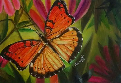 orange, butterfly, garden,The Beauty,ART_2393_20634,Artist : Sampeeta Banerjee,Water Colors