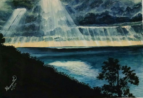 clouds, dark, sunrays, ,The Sunrays,ART_2393_20633,Artist : Sampeeta Banerjee,Water Colors