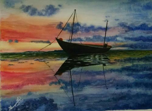boat, sunset, peaceful, anchored,The Boat,ART_2393_20632,Artist : Sampeeta Banerjee,Water Colors