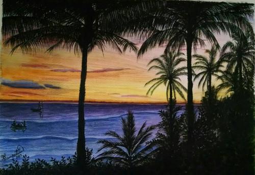 sunset, purple, fishermen, beach,Purple Sunset,ART_2393_20628,Artist : Sampeeta Banerjee,Water Colors