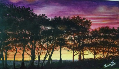 sunset, land, multicolored sky,Far Off LAnd,ART_2393_20627,Artist : Sampeeta Banerjee,Water Colors