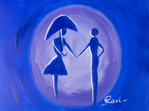 Blue silhouette , Friendship , Umbrella , People , Lovers , True love , Couple ,Silhouette in Two,ART_2934_20651,Artist : Ravi Viswanathan,Acrylic