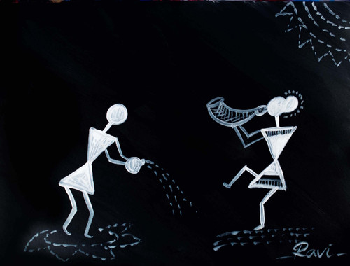 Warli , Warli tribe , Rainbow , Nature , Acrylic , Forest , Trees , Silhouette , Culture , Tradition , India,Black and White in Warli,ART_2934_20647,Artist : Ravi Viswanathan,Acrylic