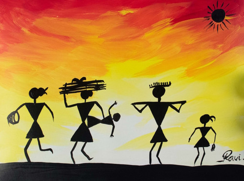 Warli , Warli tribe , Sun , Labour , Rainbow , Nature , Acrylic , Forest , Trees , Silhouette , Culture , Tradition , India,Warli in a Sunny Day,ART_2934_20646,Artist : Ravi Viswanathan,Acrylic