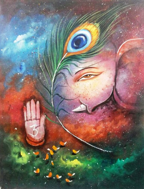Krishna Ganesh - 24in X 36in,ART_PIJN47_2436,Acrylic Colors,Ganesh,Bappa,Krishna, Artist Pallavi Jain,Museum Quality - 100% Handpainted Buy Paintings Online in India