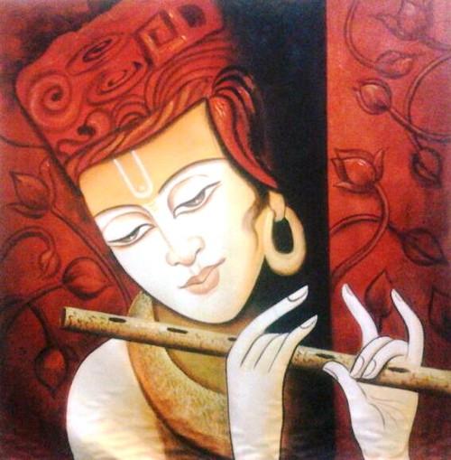 Krishna In Red - 30in X 30in,ART_PIJN49_3030,Acrylic Colors,Krishna, Kannaya,BAlgopal,Nadalal,Artist Pallavi Jain,Museum Quality - 100% Handpainted Buy Paintings Online in India