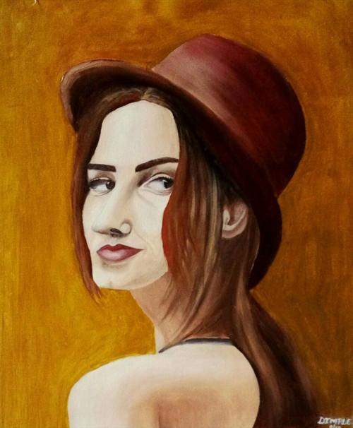 Lady, portrait, expression,Attitude,ART_1533_20675,Artist : Dimple Kapoor,Oil