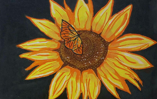 FLOWER,BUTTERFLY,THE BUTTERFLY AND THE SUNFLOWER,ART_2419_20678,Artist : ABHIK MAHANTI,Acrylic