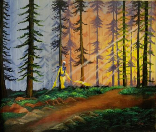 Krishna, Wood, Flute, Forest, Sun ,Krishna in the Woods,ART_3029_20690,Artist : Shaifali Agarwal,Acrylic