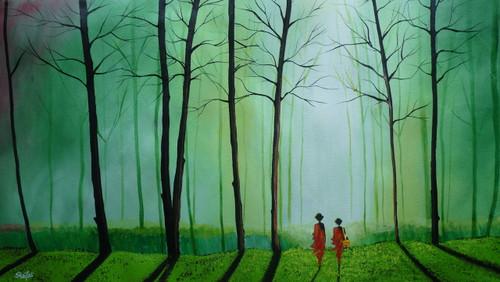 monk,forest,mist,trees,sun,green,woods,branches,fresh,Into The Mist,ART_3029_20689,Artist : Shaifali Agarwal,Acrylic