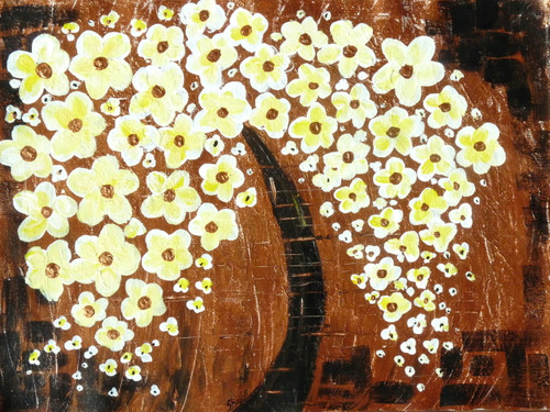Tree, Texture, Brown, Yellow, Flowers, ABstract,Tree of Life - 2,ART_3029_20686,Artist : Shaifali Agarwal,Acrylic