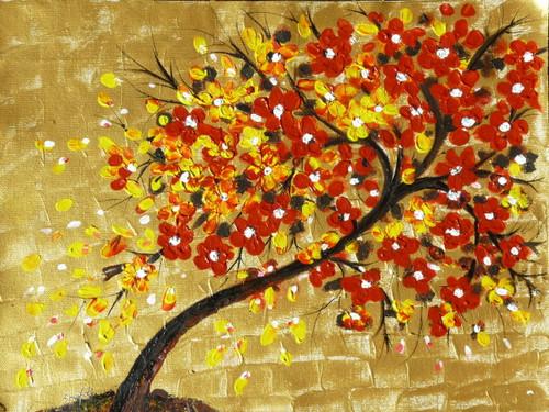 Tree, Leaves, Golden, Red , Texture , Abstract,Tree of Life - 1,ART_3029_20685,Artist : Shaifali Agarwal,Acrylic