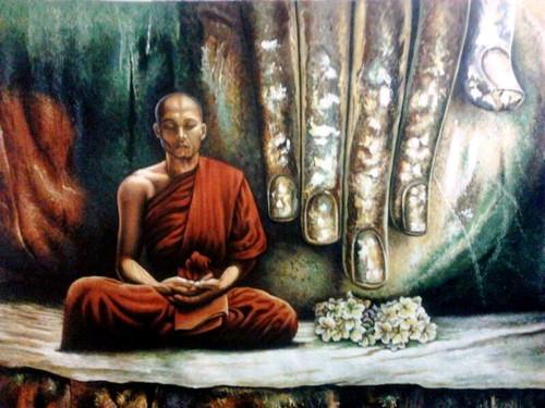 Monk In Meditation - 36in X 24in,ART_PIJN54_3624,Acrylic Colors,Monk,Mediatation,Monk,Peace Artist Pallavi Jain,Museum Quality - 100% Handpainted Buy Paintings Online in India