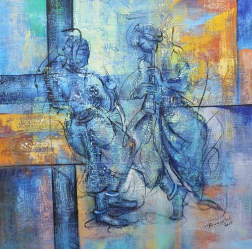Indian Art ,Indian musical Art 03,ART_1522_20745,Artist : Ram Achal,Acrylic