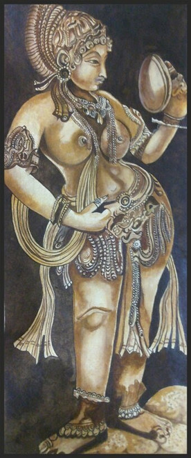,LADY WITH A MIRROR,ART_3041_20740,Artist : LALITA CHOUDHURI,Water Colors